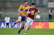 29 June 2019; James Dolan of Westmeath in action against Cathal O'Connor of Clare  during the GAA Football All-Ireland Senior Championship Round 3 match between Westmeath and Clare at TEG Cusack Park in Mullingar, Westmeath. Photo by Sam Barnes/Sportsfile