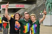 29 June 2019; Intercounty referee David Gough with Lindsay Peat, left, and Valerie Mulcahy, in attendance, at Croke Park, Dublin, before setting off to join the Dublin Pride Parade 2019. Photo by Ray McManus/Sportsfile
