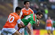 29 June 2019; Andy Moran of Mayo in action against Jemar Hall, left, and Rory Grugan of Armagh during the GAA Football All-Ireland Senior Championship Round 3 match between Mayo and Armagh at Elverys MacHale Park in Castlebar, Mayo. Photo by Brendan Moran/Sportsfile