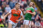29 June 2019; Rian O'Neill of Armagh after scoring his side's first goal during the GAA Football All-Ireland Senior Championship Round 3 match between Mayo and Armagh at Elverys MacHale Park in Castlebar, Mayo. Photo by Ben McShane/Sportsfile