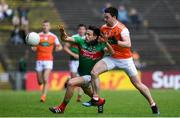 29 June 2019; Jason Doherty of Mayo is tackled by Aidan Forker of Armagh during the GAA Football All-Ireland Senior Championship Round 3 match between Mayo and Armagh at Elverys MacHale Park in Castlebar, Mayo. Photo by Brendan Moran/Sportsfile