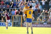 29 June 2019; Eoin Cleary, left, and Gary Brennan of Clare celebrate at the final whistle following the GAA Football All-Ireland Senior Championship Round 3 match between Westmeath and Clare at TEG Cusack Park in Mullingar, Westmeath. Photo by Sam Barnes/Sportsfile