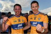 29 June 2019; David Tubridy, left, and Gary Brennan of Clare celebrate following the GAA Football All-Ireland Senior Championship Round 3 match between Westmeath and Clare at TEG Cusack Park in Mullingar, Westmeath. Photo by Sam Barnes/Sportsfile