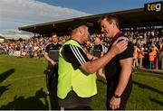 29 June 2019; Clare manager Colm Collins, left, and Westmeath manager Jack Cooney during the GAA Football All-Ireland Senior Championship Round 3 match between Westmeath and Clare at TEG Cusack Park in Mullingar, Westmeath. Photo by Sam Barnes/Sportsfile
