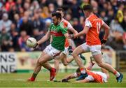 29 June 2019; Kevin McLoughlin of Mayo shoots to score his side's second goal during the GAA Football All-Ireland Senior Championship Round 3 match between Mayo and Armagh at Elverys MacHale Park in Castlebar, Mayo. Photo by Ben McShane/Sportsfile