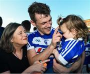 29 June 2019; John O'Loughlin of Laois with his goddaughter Lily Fitzgerald, age 1, and his mother Mary following the GAA Football All-Ireland Senior Championship Round 3 match between Laois and Offaly at O'Moore Park in Portlaoise, Laois. Photo by Eóin Noonan/Sportsfile