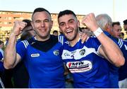 29 June 2019; Robert Pigott of Laois, left with Frank Finn following the GAA Football All-Ireland Senior Championship Round 3 match between Laois and Offaly at O'Moore Park in Portlaoise, Laois. Photo by Eóin Noonan/Sportsfile