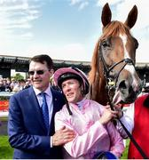 29 June 2019; Trainer Aidan O'Brien and jockey Padraig Beggy after winning The Dubai Duty Free Irish Derby with Sovereign during day three of the Irish Derby Festival at The Curragh Racecourse in Kildare. Photo by Matt Browne/Sportsfile