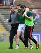 29 June 2019; Lee Keegan of Mayo leaves the pitch with an injury during the GAA Football All-Ireland Senior Championship Round 3 match between Mayo and Armagh at Elverys MacHale Park in Castlebar, Mayo. Photo by Brendan Moran/Sportsfile