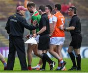 29 June 2019; Armagh manager Kieran McGeeney attempts to speak to referee Maurice Deegan at half-time during the GAA Football All-Ireland Senior Championship Round 3 match between Mayo and Armagh at Elverys MacHale Park in Castlebar, Mayo. Photo by Brendan Moran/Sportsfile