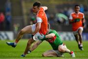 29 June 2019; Paul Hughes of Armagh is tackled by Colm Boyle of Mayo during the GAA Football All-Ireland Senior Championship Round 3 match between Mayo and Armagh at Elverys MacHale Park in Castlebar, Mayo. Photo by Brendan Moran/Sportsfile