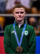 30 June 2019; Bronze medallist Regan Buckley of Ireland during the Men's Light Flyweight medal ceremony at Uruchie Sports Palace on Day 10 of the Minsk 2019 2nd European Games in Minsk, Belarus. Photo by Seb Daly/Sportsfile