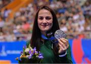 30 June 2019; Kellie Harrington of Ireland following the Women's Lightweight medal ceremony, after a walk-over in the final to Mira Potkonen of Finland, at Uruchie Sports Palace on Day 10 of the Minsk 2019 2nd European Games in Minsk, Belarus. Photo by Seb Daly/Sportsfile