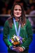 30 June 2019; Kellie Harrington of Ireland during the Women's Lightweight medal ceremony, following a walk-over in the final to Mira Potkonen of Finland, at Uruchie Sports Palace on Day 10 of the Minsk 2019 2nd European Games in Minsk, Belarus. Photo by Seb Daly/Sportsfile