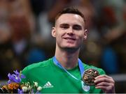 30 June 2019; Bronze medallist Michael Nevin of Ireland during the Men's Middleweight medal ceremony at Uruchie Sports Palace on Day 10 of the Minsk 2019 2nd European Games in Minsk, Belarus. Photo by Seb Daly/Sportsfile