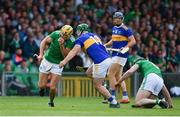 30 June 2019; Dan Morrissey of Limerick in action against John O'Dwyer of Tipperary during the Munster GAA Hurling Senior Championship Final match between Limerick and Tipperary at LIT Gaelic Grounds in Limerick. Photo by Brendan Moran/Sportsfile