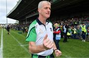 30 June 2019; Limerick manager John Kiely celebrates at the final whistle of the Munster GAA Hurling Senior Championship Final match between Limerick and Tipperary at LIT Gaelic Grounds in Limerick. Photo by Brendan Moran/Sportsfile