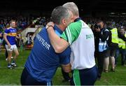 30 June 2019; Limerick manager John Kiely, right, with Tipperary manager Liam Sheedy at the final whistle of the Munster GAA Hurling Senior Championship Final match between Limerick and Tipperary at LIT Gaelic Grounds in Limerick. Photo by Brendan Moran/Sportsfile