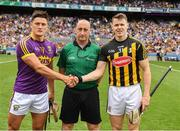 30 June 2019; Referee John Keenan with Lee Chin of Wexford and TJ Reid of Kilkenny before the Leinster GAA Hurling Senior Championship Final match between Kilkenny and Wexford at Croke Park in Dublin. Photo by Ray McManus/Sportsfile
