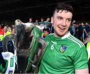 30 June 2019; Limerick captain Declan Hannon with the cup after the Munster GAA Hurling Senior Championship Final match between Limerick and Tipperary at LIT Gaelic Grounds in Limerick. Photo by Brendan Moran/Sportsfile