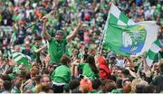 30 June 2019; Diarmaid Byrnes of Limerick celebrates with fans after the Munster GAA Hurling Senior Championship Final match between Limerick and Tipperary at LIT Gaelic Grounds in Limerick. Photo by Brendan Moran/Sportsfile
