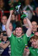 30 June 2019; Limerick captain Declan Hannon lifts the cup after the Munster GAA Hurling Senior Championship Final match between Limerick and Tipperary at LIT Gaelic Grounds in Limerick. Photo by Brendan Moran/Sportsfile