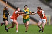 30 June 2019; Geraldine McLaughlin of Donegal in action against Caoimhe Morgan, right, and Colleen McKenna of Armagh during the Ladies Football Ulster Senior Championship Final match between Armagh and Donegal at St Tiernach's Park in Clones, Monaghan. Photo by Ben McShane/Sportsfile