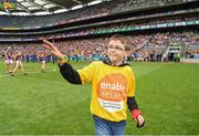 30 June 2019; Pictured is Brandon Burke with referee John Keenan, from Enable Ireland Children's Services presenting the match sliotar at Croke Park for the Leinster Championship Hurling Final 201. Enable Ireland are the official charity partner of the GAA. Photo by Ray McManus/Sportsfile