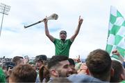 30 June 2019; Diarmaid Byrnes of Limerick celebrates with supporters after the Munster GAA Hurling Senior Championship Final match between Limerick and Tipperary at LIT Gaelic Grounds in Limerick. Photo by Piaras Ó Mídheach/Sportsfile