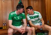 30 June 2019; Limerick players Declan Hannon, left, and Nickie Quaid in the winning dressing room after the Munster GAA Hurling Senior Championship Final match between Limerick and Tipperary at LIT Gaelic Grounds in Limerick. Photo by Piaras Ó Mídheach/Sportsfile