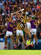 30 June 2019; Huw Lawlor of Kilkenny wins possession ahead of team-mate Paddy Deegan and Wexford players, from left, Lee Chin and Conor McDonald during the Leinster GAA Hurling Senior Championship Final match between Kilkenny and Wexford at Croke Park in Dublin. Photo by Ray McManus/Sportsfile