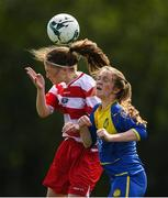 30 June 2019; Mia O'Connell of Cork in action against Emma O'Sullivan of Tipperary during the Gaynor cup final at the Fota Island FAI Gaynor Tournament U15 Finals at UL Sports in the University of Limerick. Photo by Eóin Noonan/Sportsfile