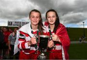 30 June 2019; Cork captains Eva Mangan, left, and Laura Shine with the cup after winning the Gaynor cup final at the Fota Island FAI Gaynor Tournament U15 Finals at UL Sports in the University of Limerick. Photo by Eóin Noonan/Sportsfile