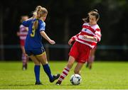 30 June 2019; Laura Shine of Cork in action against Ellie Cremins of Tipperary during the Gaynor cup final at the Fota Island FAI Gaynor Tournament U15 Finals at UL Sports in the University of Limerick. Photo by Eóin Noonan/Sportsfile