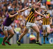 30 June 2019; Kevin Foley of Wexford blocks a shot by Adrian Mullen of Kilkenny  during the Leinster GAA Hurling Senior Championship Final match between Kilkenny and Wexford at Croke Park in Dublin. Photo by Ramsey Cardy/Sportsfile