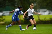 30 June 2019; Siun Murdiff of Wexford in action against Osarhumwense Osarimen of NECL during the bowl final at the Fota Island FAI Gaynor Tournament U15 Finals at UL Sports in the University of Limerick. Photo by Eóin Noonan/Sportsfile