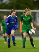 30 June 2019; Wiktoria Gorczyca of Carlow in action against Sorcha Feehily of Sligo/Leitrim during the shield final at the Fota Island FAI Gaynor Tournament U15 Finals at UL Sports in the University of Limerick. Photo by Eóin Noonan/Sportsfile