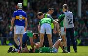 30 June 2019; Peter Casey of Limerick is attended to by medical personnel after being tackled by Ronan Maher of Tipperary  during the Munster GAA Hurling Senior Championship Final match between Limerick and Tipperary at LIT Gaelic Grounds in Limerick. Photo by Brendan Moran/Sportsfile
