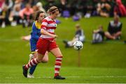 30 June 2019; Sadbh McGoldrick of Cork in action against Michaela Lawerence of South Tipperary during the Gaynor cup final at the Fota Island FAI Gaynor Tournament U15 Finals at UL Sports in the University of Limerick. Photo by Eóin Noonan/Sportsfile