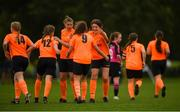 30 June 2019; Aine Rohan of Kilkenny celebrates with team-mates after scoring her side's first goal of the game  during the plate final at the Fota Island FAI Gaynor Tournament U15 Finals at UL Sports in the University of Limerick. Photo by Eóin Noonan/Sportsfile