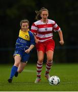 30 June 2019; Meabh Russell of South Tipperary in action against Heidi O'Sullivan of Cork during the Gaynor cup final at the Fota Island FAI Gaynor Tournament U15 Finals at UL Sports in the University of Limerick. Photo by Eóin Noonan/Sportsfile