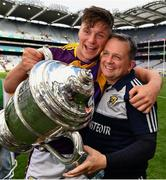 30 June 2019; Conor McDonald of Wexford and Wexford manager Davy Fitzgerald with the Bob O'Keeffe Cup after the Leinster GAA Hurling Senior Championship Final match between Kilkenny and Wexford at Croke Park in Dublin. Photo by Ray McManus/Sportsfile