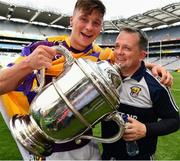 30 June 2019; Conor McDonald of Wexford and Wexford manager Davy Fitzgerald  with the Bob O'Keeffe Cup afterthe Leinster GAA Hurling Senior Championship Final match between Kilkenny and Wexford at Croke Park in Dublin. Photo by Ray McManus/Sportsfile