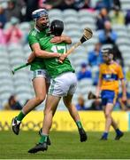 30 June 2019; Ethan Hurley and Michael Cremin of Limerick celebrate after the Electric Ireland Munster GAA Hurling Minor Championship Final match between Limerick and Clare at LIT Gaelic Grounds in Limerick. Photo by Brendan Moran/Sportsfile