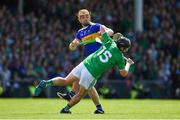 30 June 2019; Peter Casey of Limerick is tackled by Ronan Maher of Tipperary  during the Munster GAA Hurling Senior Championship Final match between Limerick and Tipperary at LIT Gaelic Grounds in Limerick. Photo by Brendan Moran/Sportsfile
