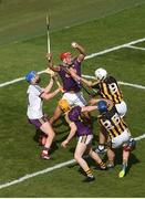 30 June 2019; Lee Chin of Wexford gathers the ball ahead of Ger Aylward, left, and Conor Fogarty of Kilkenny near his own goal in the dying moments of the Leinster GAA Hurling Senior Championship Final match between Kilkenny and Wexford at Croke Park in Dublin. Photo by Daire Brennan/Sportsfile