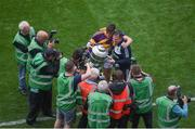 30 June 2019; Wexford manager Davy Fitzgerald and Conor McDonald celebrate with the Bob O'Keeffe cup after the Leinster GAA Hurling Senior Championship Final match between Kilkenny and Wexford at Croke Park in Dublin. Photo by Daire Brennan/Sportsfile