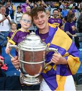 30 June 2019; Conor McDonald of Wexford with his godson James Doyle following the Leinster GAA Hurling Senior Championship Final match between Kilkenny and Wexford at Croke Park in Dublin. Photo by Ramsey Cardy/Sportsfile