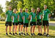 30 June 2019; Ireland medallists, from left, Badminton Mixed Doubles bronze medallists Samuel and Chloe Magee, Women's Boxing Featherweight silver medallist Michaela Walsh, Men's Boxing Light Flyweight bronze medallist Regan Buckley, Women's Boxing Welterweight bronze medallist Grainne Walsh, Women's Boxing Lightweight silver medallist Kellie Harrington, and Men's Boxing Middleweight bronze medallist Michael Nevin, prior to the closing ceremony on Day 10 of the Minsk 2019 2nd European Games in Minsk, Belarus. Photo by Seb Daly/Sportsfile