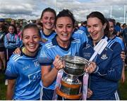 30 June 2019; Dublin players, from left, Nicole Owens, Niamh McEvoy and Sinead Aherne celebrate with the cup following the Ladies Football Leinster Senior Championship Final match between Dublin and Westmeath at Netwatch Cullen Park in Carlow. Photo by Sam Barnes/Sportsfile